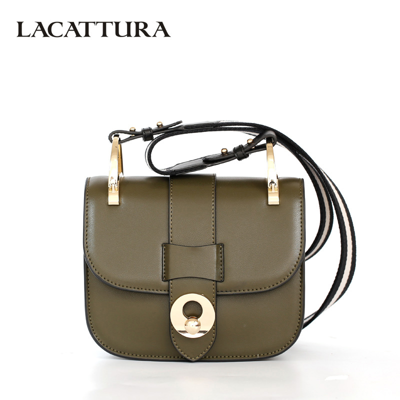 LACATTURA Luxury Handbag Women Designer Leather Shoulder Bag Fashion Messenger Bags Small Candy Clutch lacattura small bag women messenger bags split leather handbag lady tassels chain shoulder bag crossbody for girls summer colors