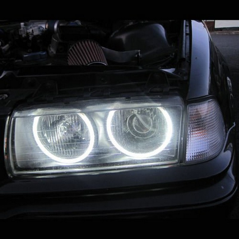 4x 131mm 146mm CCFL Angel Eye Halo Rings LED Light Set White Non-Projector For BMW E46 3 Series High brightness efficiency (11)