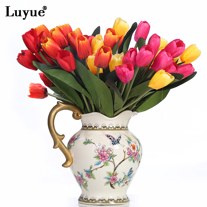 Luyue 1 Bouquet 9 Flowers Artificial Tulip Holding Hands Wedding Bride Bouquet Flower Head Wedding Decorations Living Room