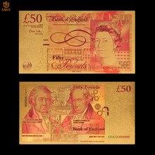 Billetes de oro británico, papel de aluminio dorado de 50 libras, valor de colección de dinero