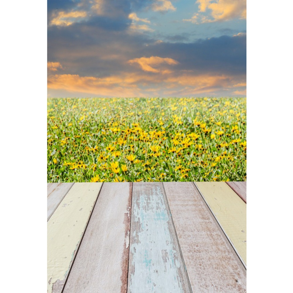 Laeacco Spring Flowers Gorgeous Sky Color Planks Natural Stage Scene Photographic Backgrounds Photography Photo Backdrops Studio