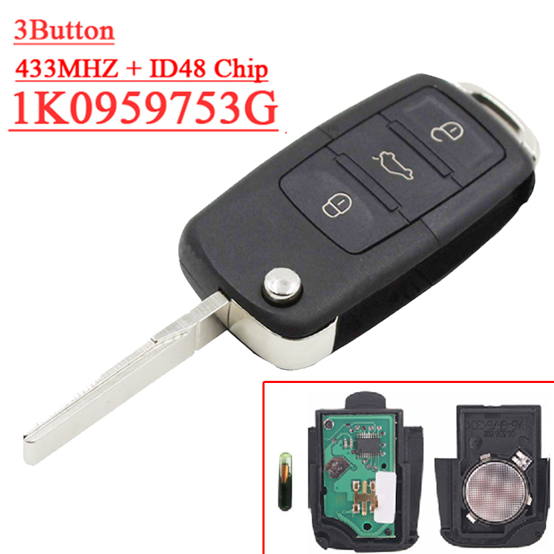 Fast shipping (1 piece) 1K0 959 753 G 3 button Flip remote key with 433MHZ  48 chip for vw key fast shipping 1 piece 1k0 959 753 g 3 button flip remote key with 433mhz 48 chip for vw key
