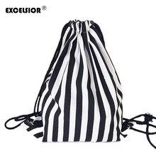 EXCELSIOR 2019 Vintage Striped Printing Drawstring Female Backpack Women Canvas  Backpack Bag Beach Travel Bag School 4d3b1f1af76c2
