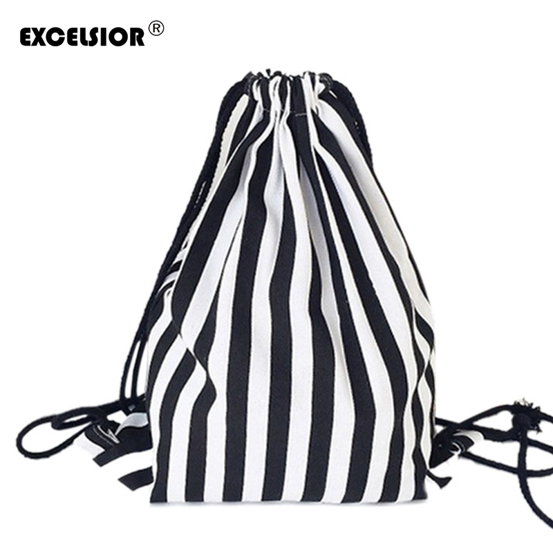 Excelsior 2019 Vintage Striped Printing Drawstring Female Backpack Women Canvas Backpack Bag Beach Travel Bag School Bags G0756