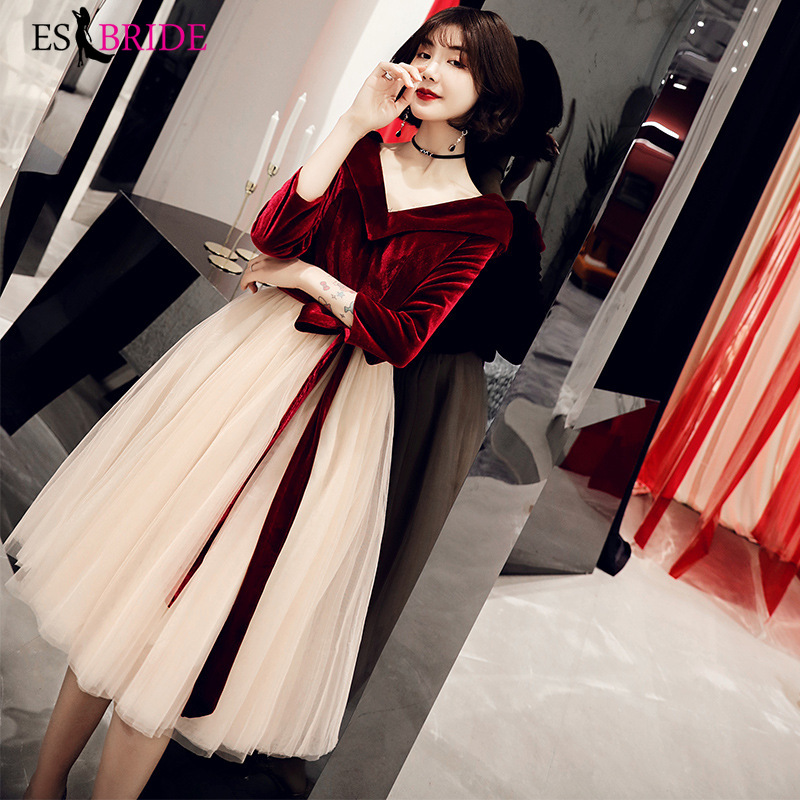 Red Muslim Evening Dress A-line Elegant Robe De Soiree Short Evening Dress Arabic Special Occasion Dresses Formal Dresses ES2475