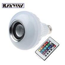 El envío libre 12 W E27 Energía LED rgb Bluetooth Altavoz Inalámbrico Bombilla Lámpara de Reproducción de Música e Iluminación RGB con Control Remoto Control