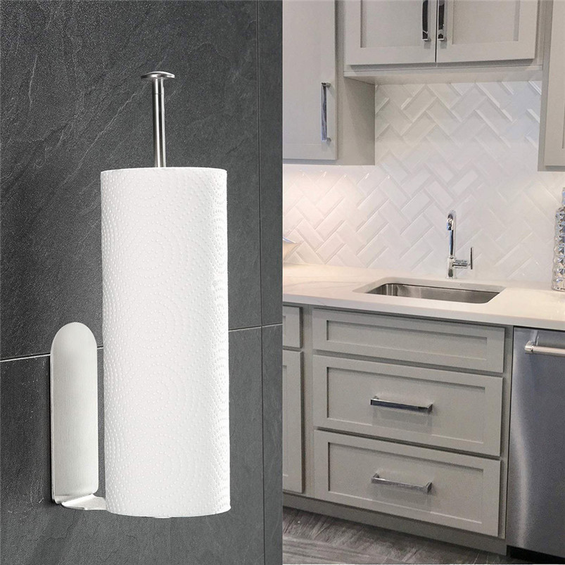 Vertical Diversified Paper Towel Holder Wall Mount Paper Holder Storage Rack shelf kitchen storage rangement cuisine R03 (6)