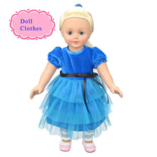 About 23cm Clothes Fit For 18inch 45cm American Girl Doll Flannelette Made Shirt+ Veil Dress One Set Fashion Party Style Dress