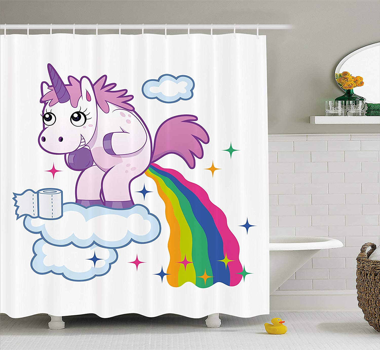 Us 17 24 25 Off Funny Shower Curtain Unicorn Pooping Rainbow Over Clouds Creative Kids Girls Fairy Tale Fantasy Cartoon Fabric Bathroom Set In