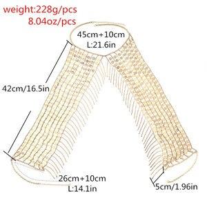 Image 3 - Đời Boho Gợi Cảm Tráng Lệ Kim Loại Kim Sa Lấp Lánh Tua Rua Dây Vòng Cổ Áo Ngực Dây Chuyền Nữ Trang Sức Bikini Kim Loại Hợp Kim Tuyên Bố Dây Chuyền Toàn Thân