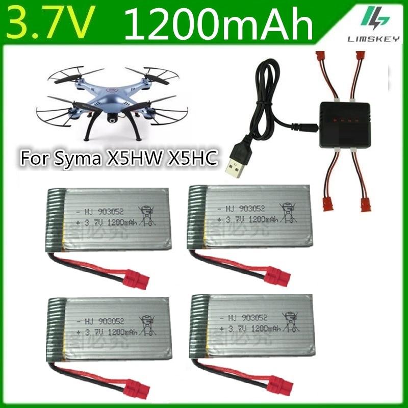 3.7V 1200mah Syma X5HC X5HW Battery Spare Parts 3.7V 1200mAh Li-Battery For Syma X5HC X5HW with 4in1 Balance Charger 5pcs/set топор truper hc 1 1 4f 14951