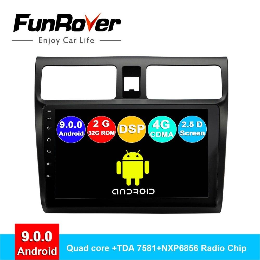 FUNROVER android 9.0 2 din car dvd gps multimedia player For Suzuki Swift 2005 2018 radio navigation stereos autoradio DSP 10.1