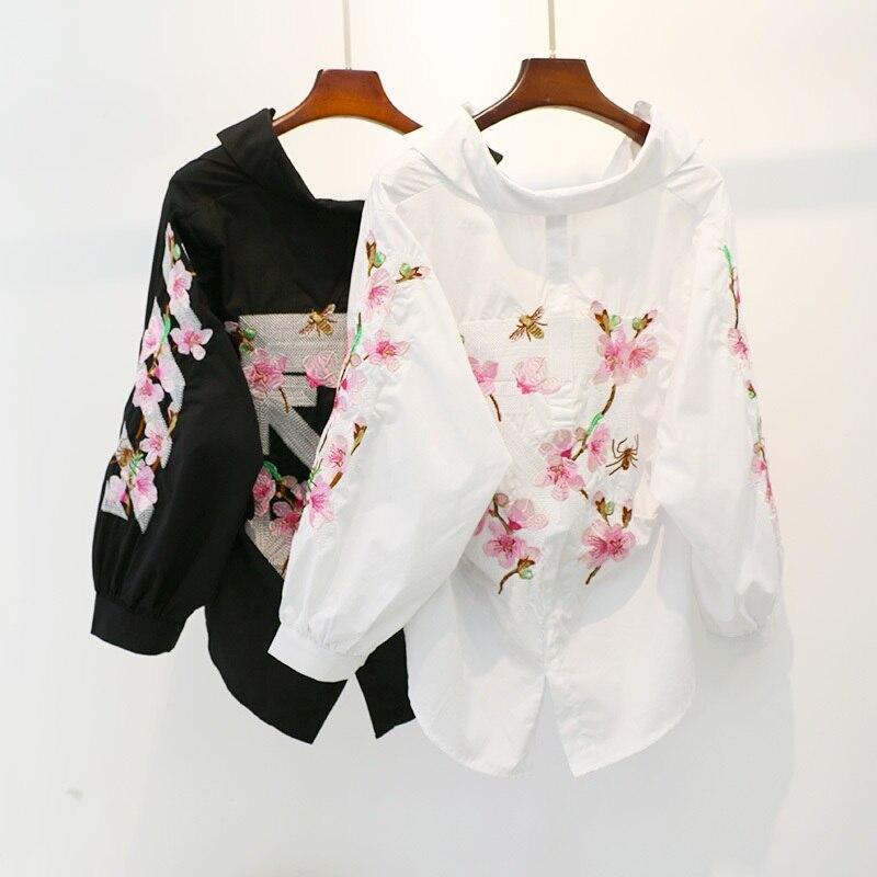 Women New Summer Fashion Shirt Female Korean Version Flower Embroidery Pullover V-neck Asymmetrical Lantern Sleeve Cotton Shirt