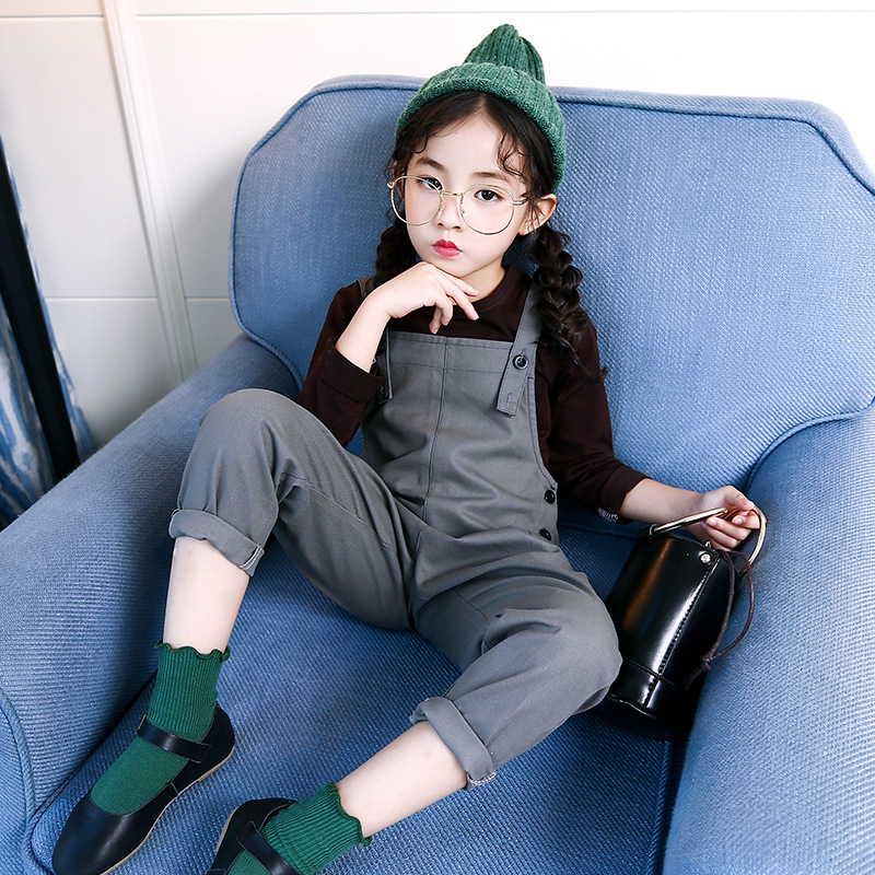 4 5 6 7 8 9 10 11 12 13 Years Teenager Girls Fashion Clothing Set Autumn Long Sleeve Soild T Shirt + Overalls 2pcs Kids Clothes 4 5 6 7 8 9 10 11 12 13 years denim girls clothes set teenagers baby girl long sleeve jeans outwear floral dress 2pcs clothing