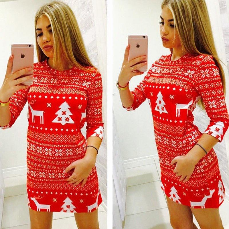 Frauen Casual Weihnachten Kleid Weihnachten Deer Gedruckt Floral Kleid Drei Viertel Oansatz Sexy Party Kleid Mode Vestidos Modis
