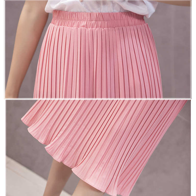 45ecf3887 ... Women Pleated Midi Skirt Chiffon Elastic High Waist Tutu Long Skirts  Female Summer Maxi Female Elegant ...