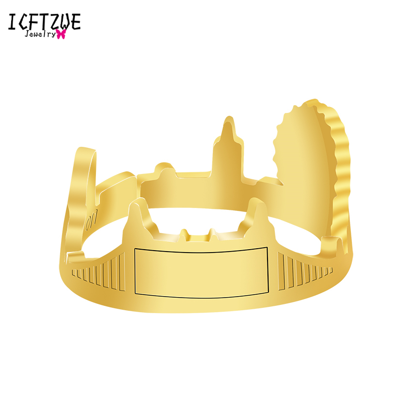 Bijoux Rings For Women Jewelry Gold Silver RLondon Skyline City Open Band Ring Rings For Christmas Gift BFF Bangue Femme BFF