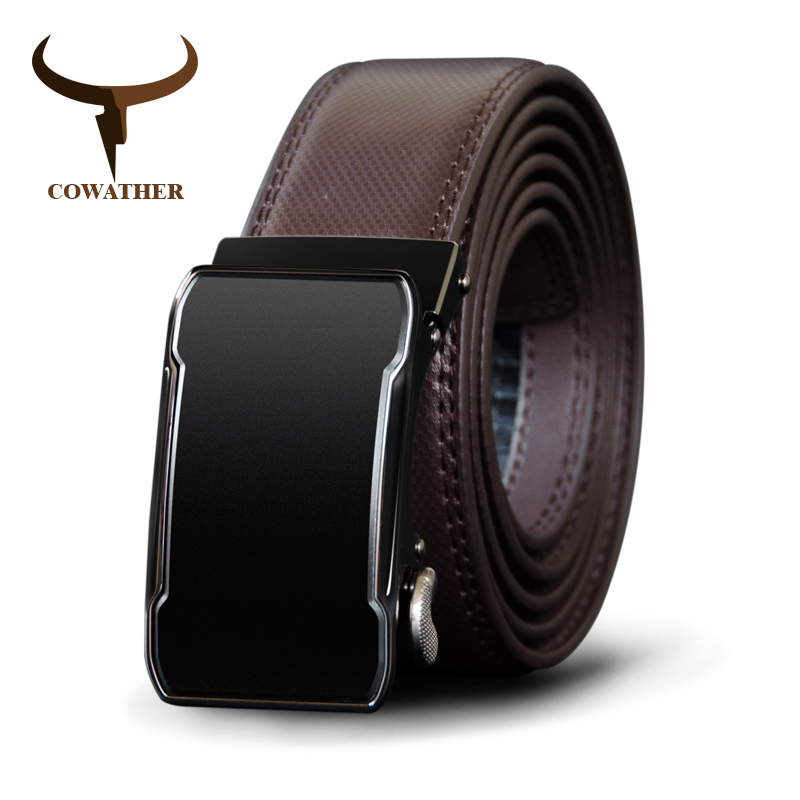 COWATHER Cow Genuine Leather Belt Top Quality Alloy Buckle Men Belts Automatic Buckle Cowhide Male Strap Black Brown Straps-in Men's Belts from Apparel Accessories on AliExpress