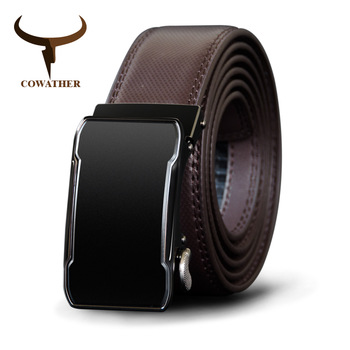 COWATHER Cow Genuine Leather Belt Top Quality Alloy Buckle Men Belts Automatic Buckle Cowhide Male Strap Black Brown Straps fashionable men s head layer cowhide cow split leather waist belt brown