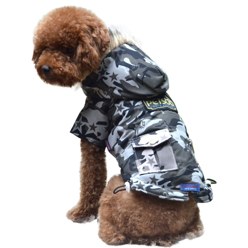Pet Camouflage Cat Winter Dog Puppy Winter Padded Coat Clothes Warm Cotton Coat Jacket XS S M L XL