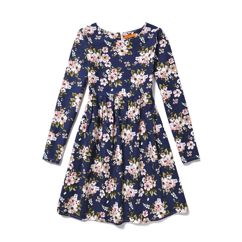 Teenage Girls Dress Blue Floral Print Flower Girl Dresses 2016 New Casual Autumn Long Sleeve Vestidos Party Frocks 6-12T GD98F hand painted non woven silk wallpaper painting tree flower with bird hand painted tv bedroom living room dinning sofa wall paper