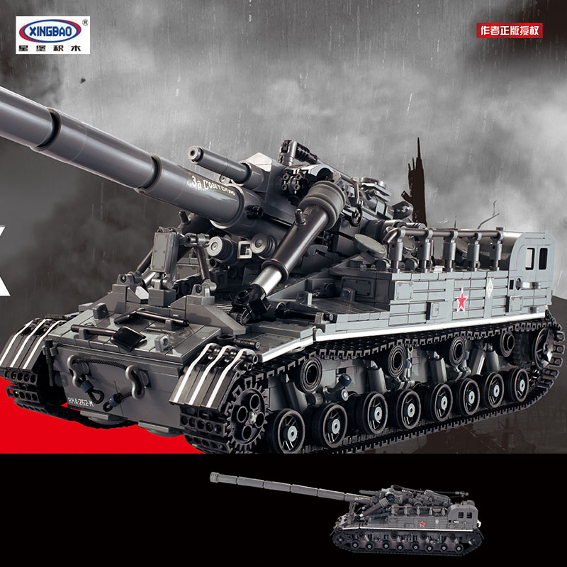 PRESELL XINGBAO 06001 1389Pcs Creative MOC Military Series The T92 Tank Set Education Building Blocks Bricks Toys Model Gifts