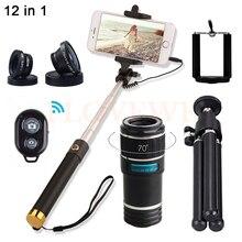 Buy 12X Zoom Telephoto Lens Kit Telescope Fisheye Wide Angle Macro Lentes Microscope For Samsung S5 S6 S7 S7edge With Selfie Stick