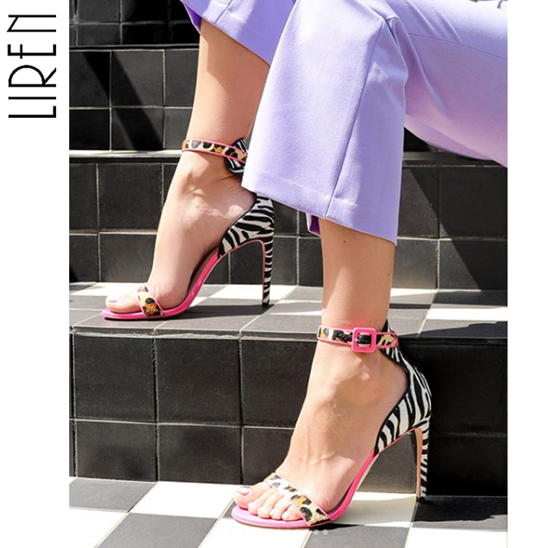 Liren Sandals Buckle Rose-Red Shoe Open-Toe High-Heel Mouth Thin Shallow Dance Party