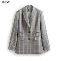 KENVY брендовые Модные женские высококачественные роскошные весенние свободные клетчатые повседневные Блейзер Куртка пальто женские