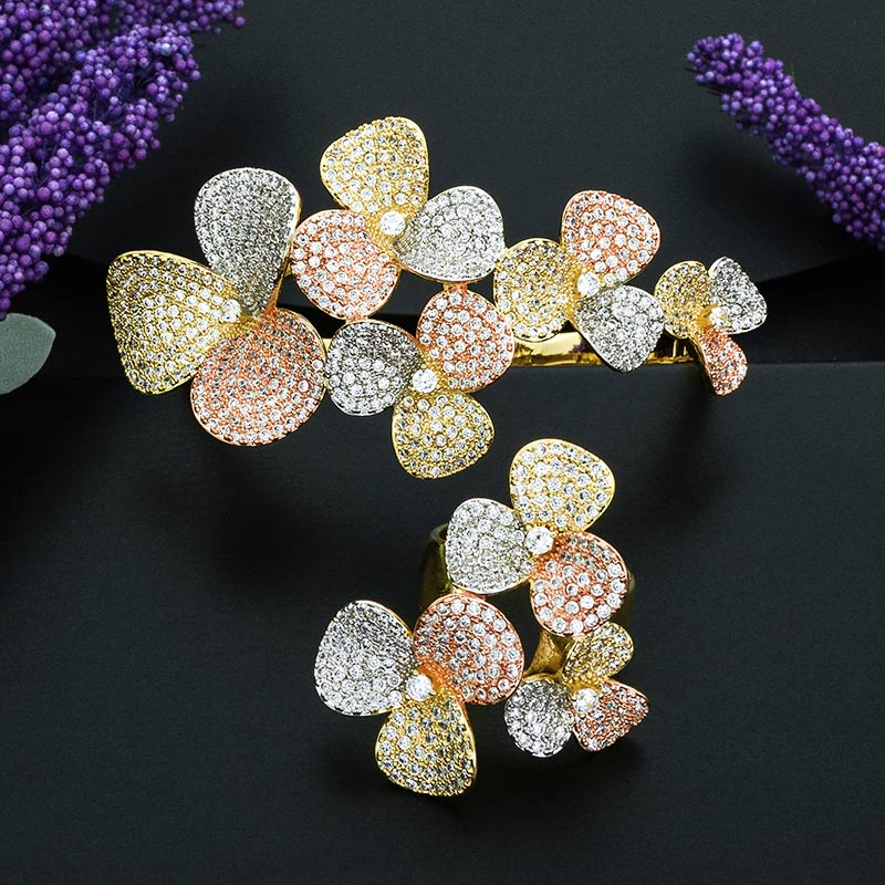 ModemAngel Charming Flowers Copper Bangle And Ring Set for Women High Quality Micro Cubic Zirconia Accessory