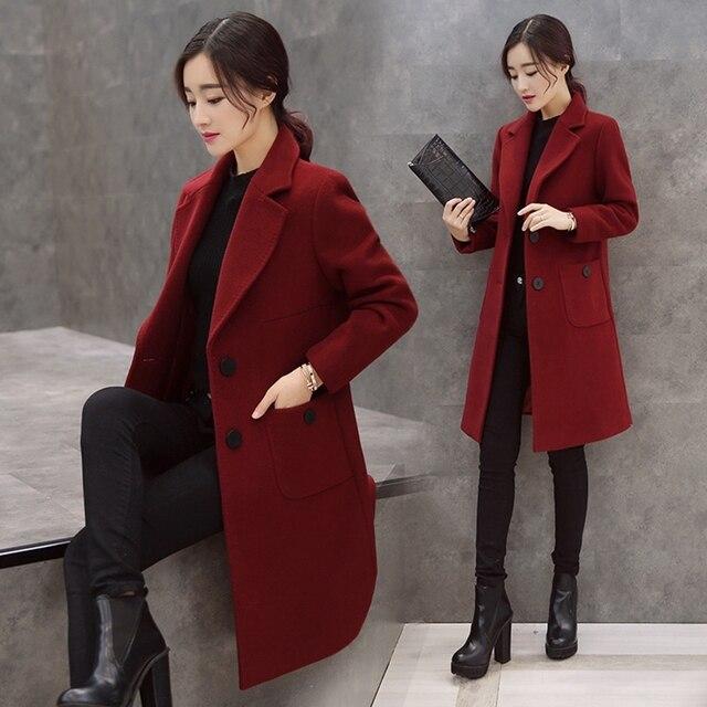 05ec8a26b002 Ladies winter pure Korean slim woolen cloth coat