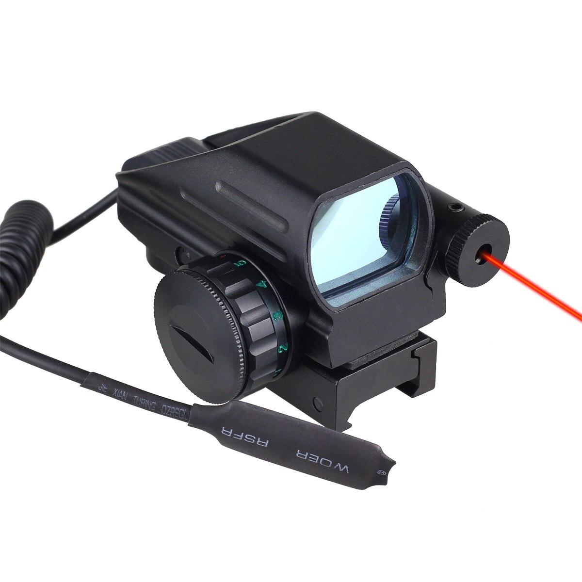 Holographic Laser Sight Scope 4 Reflex Red Green Dot Retículo Rifle Picatinny Rail 20mm para AR 12ga Shotgun Airsoft caça