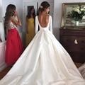 Vintage Long Sleeves Open Back Taffeta Wedding Dresses 2017 Princess Bridal Gowns
