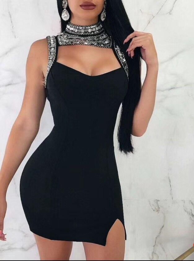 Nu Rayonne Robe Partie Haute Bandage Sexy Moulante Évider Noir Perles Qualité Dos UqY0f