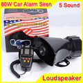 80W 5 Sound Car Electronic Warning Siren Motorcycle Alarm Police Firemen Ambulance Loudspeaker With MIC Police Siren