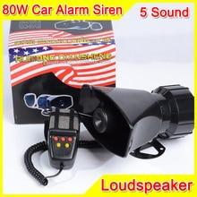 80W 5 Sound Car Electronic Warning Siren Motorcycle Alarm Police Firemen Ambulance Loudspeaker With MIC Police Siren