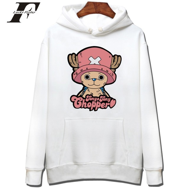 One Piece Cartoon Print With Cap For Men Hoodie