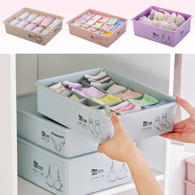 Underwear storage box with lid 10/15 Grids home Wardrobe Drawer Closet Organizer case For Socks Panties Bra