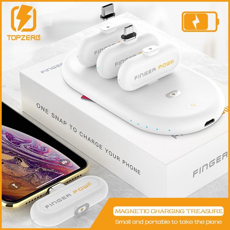 Doigt Pow Total 8300 mah 3 Mini batterie externe magnétique pour Micro Apple Type C grande capacité de chargement Dock avec câble magnétique