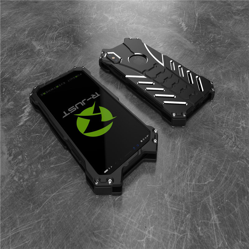 For iphone 8 Case Armor Heavy Dust Metal Aluminum CNC BATMAN Protect Skeleton Head Phone Shell Case Cover+bracket