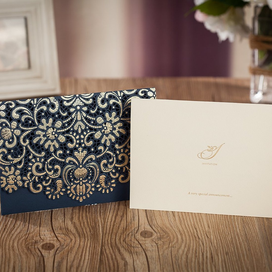Gold Pattern Navy Blue Laser Cut Invitations Printable Invites with Envelopes for Anniversary Holiday Housewarming Quinceanera in Cards Invitations from Home Garden