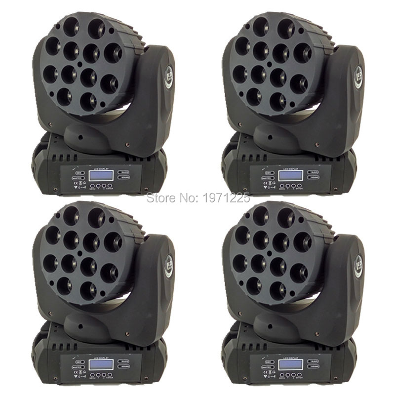 (4pcs) LED Beam Moving Head Light 12x 12W RGBW Quad LED With Excellent Pragrams dmx 9/16 Channels DJ