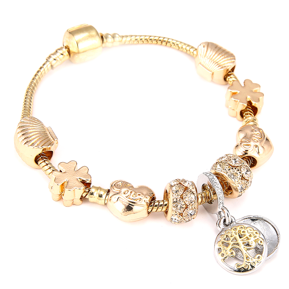 Fashion Gold Color Charm Bracelet & Bangle with Tree of life Pendant & Gold Crystal Ball Beads fit Pandora Bracelet Dropshipping