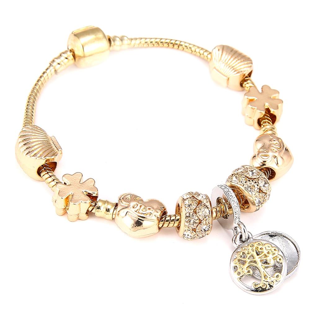 Fashion Gold Color Pandora Charm Bracelet & Bangle with Tree of life Pendant & Gold Crystal Ball Beads Bracelet Dropshipping