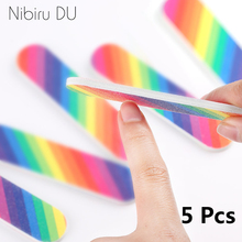5 pcs/lot Rainbow Mini Nail File Block Sanding Buff Remove Acrylic Gel Polish Disposable Files for Manicure Pedicure Tool