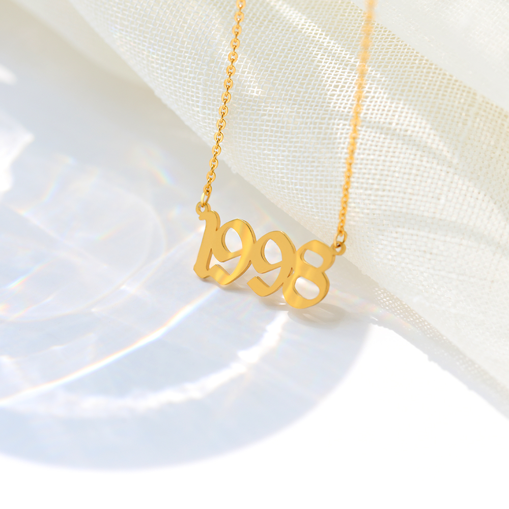 Custom Old English Year Number Ring 1998 1999 1990 Gold Personalized Adjustable Size Stainless Steel Wedding Rings for Women in Chain Necklaces from Jewelry Accessories