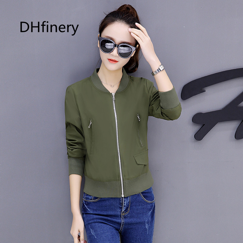 DHfinery casual coat women spring autumn Long sleeve O neck short jackets black green baseball clothes plus size M 4XL bs5721 in Jackets from Women 39 s Clothing