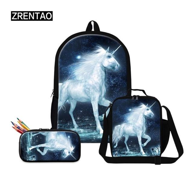 0b8faea7f7a6 Cute 3PCS  set Women Printed Unicorn Backpack School Bags For Teenage Girls  Shoulder Drawstring Bags Boy Men Male Schoolbag Set