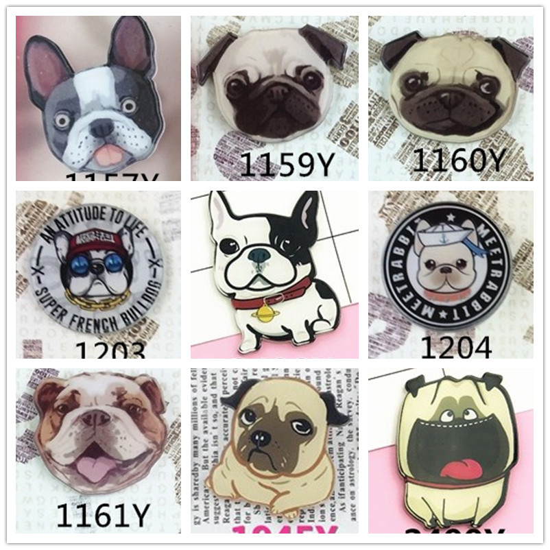 Acrylic Badge Pug Dog Brooches Pin Up Collar Tips Lovely Animal Christmas Gifts Pug Brooch With Pins