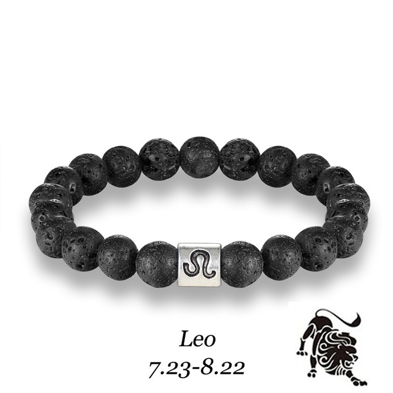 Stone bracelet beads lava natural homme fashion bangles Bracelet Men 12 Constellation Accessorie Jewelry male Customized Gift